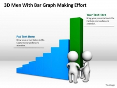 Images Of Business People 3d Men With Bar Graph Making Effort PowerPoint Templates