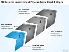 Improvement Process Arrow Chart 4 Stages Franchise Business Plan PowerPoint Templates