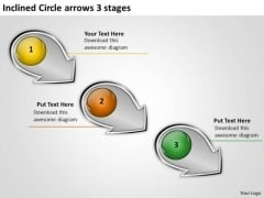 Inclined Circle Arrows 3 Stages Flow Chart Slides PowerPoint