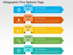 Infographic Five Options Tags PowerPoint Template