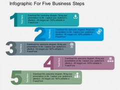 Infographic For Five Business Steps PowerPoint Template
