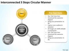 Interconnected 3 Steps Circular Manner Business Plan PowerPoint Templates