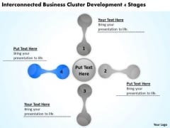 Interconnected Business Cluster Development 4 Stages Ppt Plan PowerPoint Slides