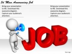 Internet Business Strategy 3d Man Announcing Job Basic Concepts