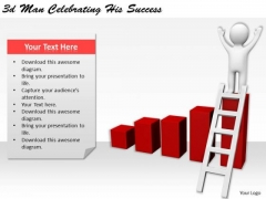 Internet Business Strategy 3d Man Celebrating His Success Basic Concepts