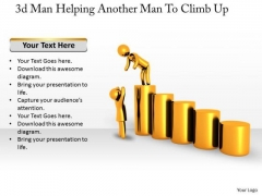 Internet Business Strategy 3d Man Helping Another To Climb Up Concept