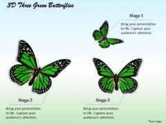 Internet Business Strategy 3d Three Green Butterflies Photos