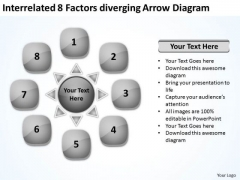 Interrelated 8 Factors Diverging Arrow Diagram Circular Flow Network PowerPoint Slides