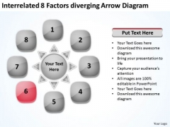 Interrelated 8 Factors Diverging Arrow Diagram Cycle Flow PowerPoint Templates