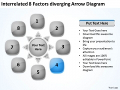Interrelated 8 Factors Diverging Arrow Diagram Cycle Spoke Network PowerPoint Slides