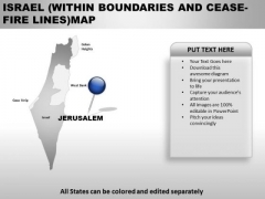 Israel Within Boundaries And Ceas Fire Lines Country PowerPoint Maps