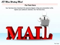 It Business Strategy 3d Man Writing Mail Concept