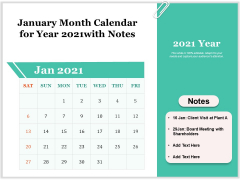 January Month Calendar For Year 2021With Notes Ppt PowerPoint Presentation Outline Structure PDF