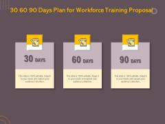 Job Driven Training 30 60 90 Days Plan For Workforce Training Proposal Ppt Icon Summary PDF