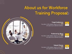 Job Driven Training About Us For Workforce Training Proposal Ppt Portfolio Template PDF