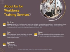Job Driven Training About Us For Workforce Training Services Ppt Professional PDF