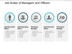 Job Duties Of Managers And Officers Ppt PowerPoint Presentation Layouts Graphics Download