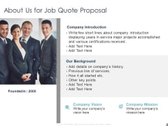Job Estimate About Us For Job Quote Proposal Ppt Model Icon PDF