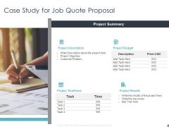 Job Estimate Case Study For Job Quote Proposal Ppt File Brochure PDF