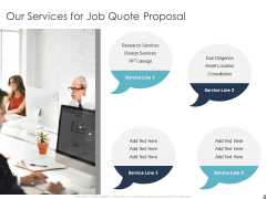 Job Estimate Our Services For Job Quote Proposal Ppt Outline Example File PDF