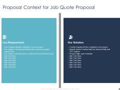 Job Estimate Proposal Context For Job Quote Proposal Ppt Outline Sample PDF