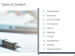 Job Estimate Table Of Content Ppt Layouts Model PDF