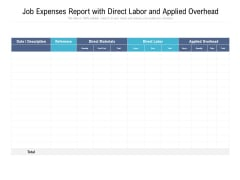 Job Expenses Report With Direct Labor And Applied Overhead Ppt PowerPoint Presentation Show Introduction PDF