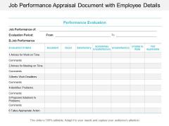 Job Performance Appraisal Document With Employee Details Ppt Powerpoint Presentation Ideas Portfolio