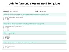 Job Performance Assessment Template Ppt PowerPoint Presentation File Demonstration PDF