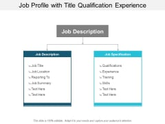 Job Profile With Title Qualification Experience Ppt PowerPoint Presentation Pictures Background