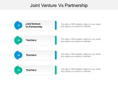 Joint Venture Vs Partnership Ppt PowerPoint Presentation Gallery Outline Cpb