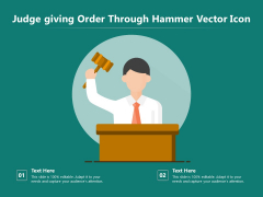 Judge Giving Order Through Hammer Vector Icon Ppt PowerPoint Presentation Gallery Elements PDF