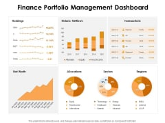 KPI Dashboards Per Industry Finance Portfolio Management Dashboard Ppt PowerPoint Presentation Outline Ideas PDF