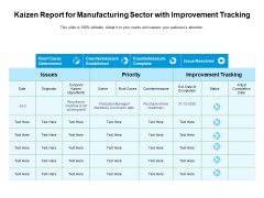 Kaizen Report For Manufacturing Sector With Improvement Tracking Ppt PowerPoint Presentation Summary Slideshow PDF