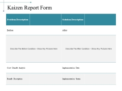 Kaizen Report Form Ppt PowerPoint Presentation Styles Samples