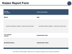 Kaizen Report Form Ppt PowerPoint Presentation Summary Professional