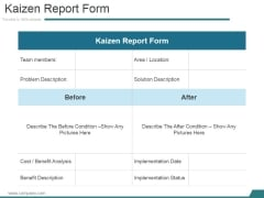 Kaizen Report Form Ppt PowerPoint Presentation Summary