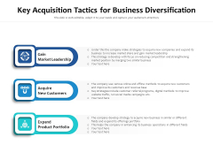 Key Acquisition Tactics For Business Diversification Ppt PowerPoint Presentation Summary Sample PDF