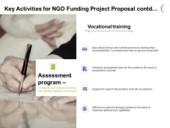 Key Activities For NGO Funding Project Proposal Contd Ppt PowerPoint Presentation Gallery Gridlines