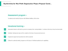 Key Activities For Non Profit Organization Project Proposal Contd Ppt PowerPoint Presentation Summary Information