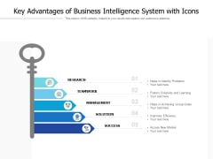 Key Advantages Of Business Intelligence System With Icons Ppt PowerPoint Presentation Infographic Template Pictures