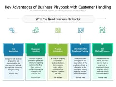 Key Advantages Of Business Playbook With Customer Handling Ppt PowerPoint Presentation File Grid PDF