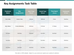 Key Assignments Task Table Ppt PowerPoint Presentation Model Objects