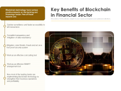 Key Benefits Of Blockchain In Financial Sector Ppt PowerPoint Presentation Gallery Information PDF
