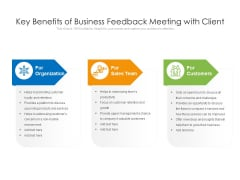 Key Benefits Of Business Feedback Meeting With Client Ppt PowerPoint Presentation Icon Infographics PDF