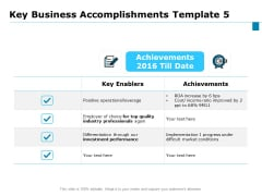 Key Business Achievements Key Business Accomplishments Enablers Ppt Styles Information PDF
