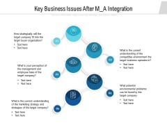 Key Business Issues After M A Integration Ppt PowerPoint Presentation Outline Graphic Images PDF