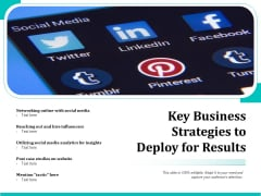 Key Business Strategies To Deploy For Results Ppt PowerPoint Presentation Gallery Infographic Template PDF