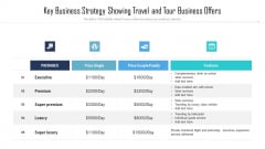 Key Business Strategy Showing Travel And Tour Business Offers Information PDF
