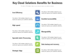 Key Cloud Solutions Benefits For Business Ppt PowerPoint Presentation Show Example File PDF